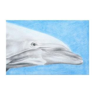 Delfín - dibujo de lápiz de color impresión en lona