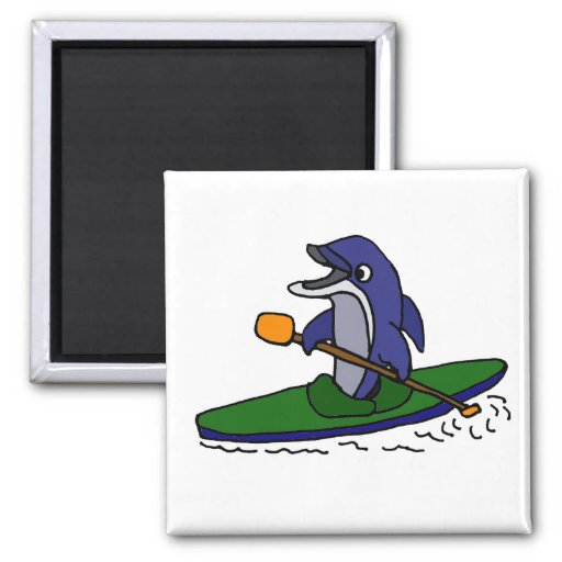 Delfín divertido Kayaking Iman De Nevera