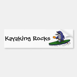 Delfín divertido Kayaking Pegatina Para Auto