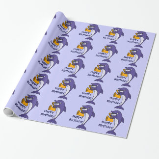 Delfín divertido que juega el cumpleaños Giftwrap
