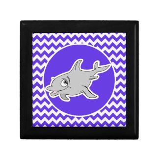 Delfín en Chevron violeta azul Caja De Joyas