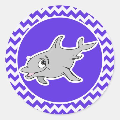 Delfín en Chevron violeta azul Etiquetas Redondas