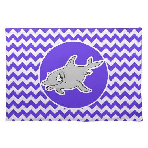 Delfín en Chevron violeta azul Manteles Individuales