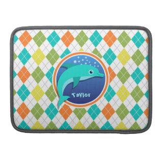 Delfín en el modelo colorido de Argyle Funda Para Macbooks