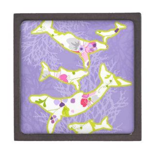 Delfín en fondo violeta llano cajas de recuerdo de calidad