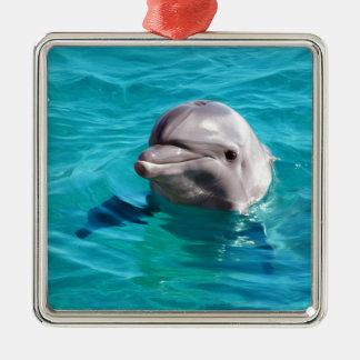 Delfín en foto del agua azul adorno navideño cuadrado de metal