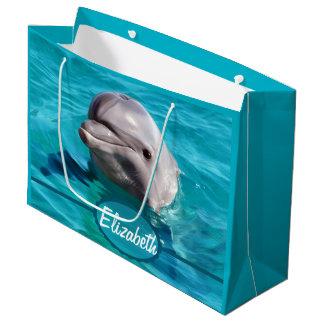 Delfín en foto del agua azul bolsa de regalo grande