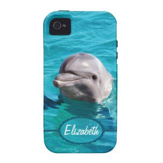 Delfín en foto del agua azul Case-Mate iPhone 4 carcasa