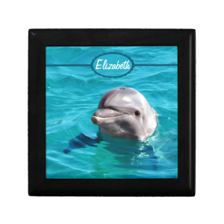 Delfín en foto del agua azul joyero cuadrado pequeño