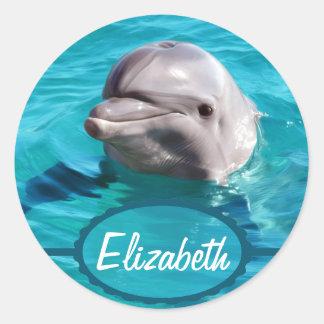 Delfín en foto del agua azul pegatina redonda