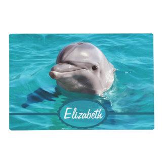 Delfín en foto del agua azul tapete individual