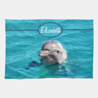 Delfín en foto del agua azul toallas de cocina