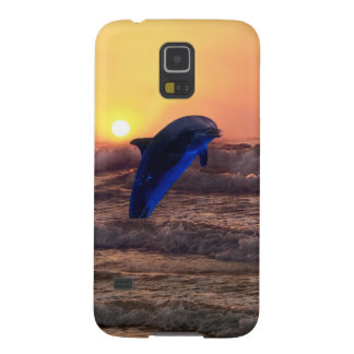 Delfín en la puesta del sol carcasa de galaxy s5