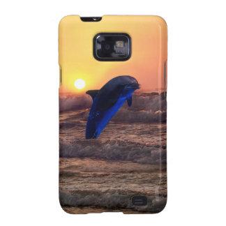 Delfín en la puesta del sol samsung galaxy s2 fundas