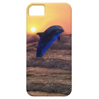 Delfín en la puesta del sol iPhone 5 carcasa