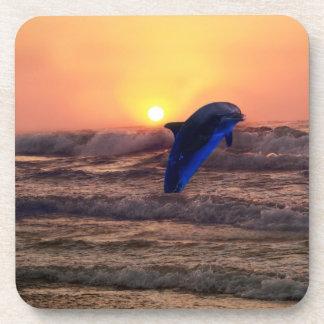 Delfín en la puesta del sol posavasos