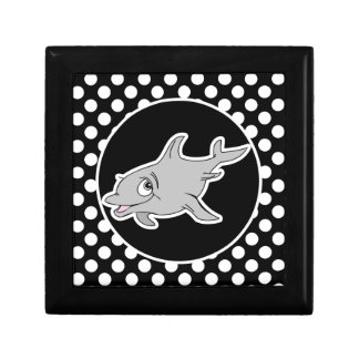 Delfín en lunares blancos y negros cajas de recuerdo