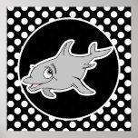 Delfín en lunares blancos y negros poster