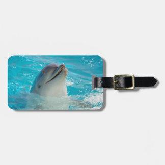 Delfín feliz de la natación etiquetas para maletas