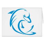 Delfín feliz en estilo del dibujo del oscilación tarjetas