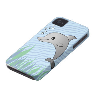 Delfín gris lindo en agua azul carcasa para iPhone 4