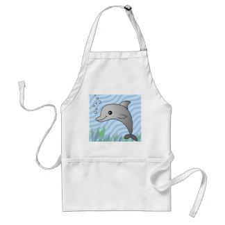Delfín gris lindo en agua azul delantal
