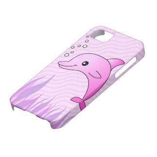 Delfín gris lindo en agua rosada funda para iPhone SE/5/5s