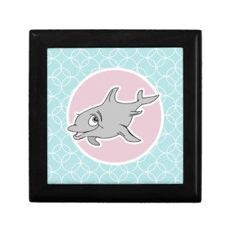 Delfín lindo en círculos de los azules cielos caja de recuerdo