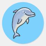 Delfín lindo etiquetas redondas