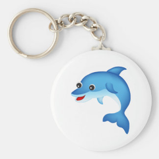 Delfín lindo llavero redondo tipo pin