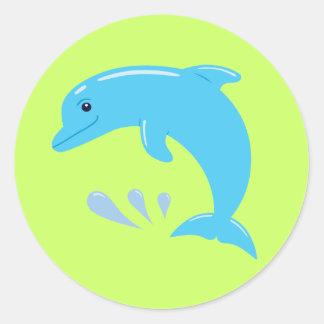 Delfín lindo pegatina redonda
