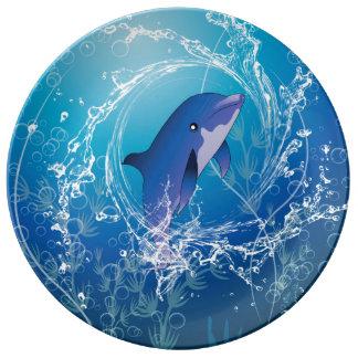 Delfín lindo platos de cerámica