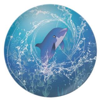 Delfín lindo plato de cena