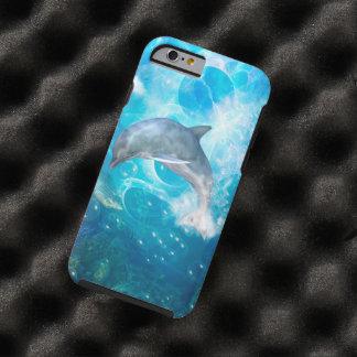 Delfín maravilloso con las burbujas funda de iPhone 6 tough