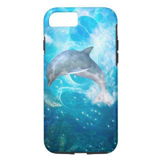 Delfín maravilloso con las burbujas funda iPhone 7