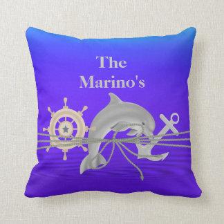 Delfín NÁUTICO, ancla, regalo de encargo de la Cojín