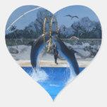 Delfín Pegatina En Forma De Corazón