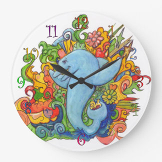 Delfín psicodélico reloj redondo grande
