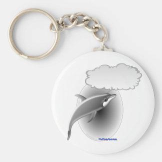 Delfín que habla llavero redondo tipo pin