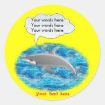 Delfín que habla pegatina redonda