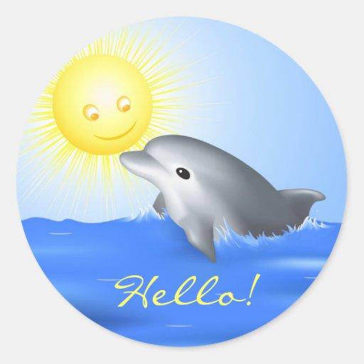 Delfín que juega con Sun Pegatina Redonda