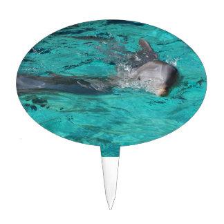 delfín que sale de la página llena del agua del tr palillos de tarta