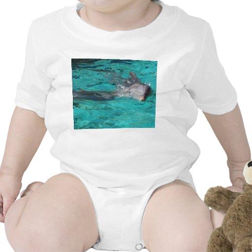 delfín que sale de la página llena del agua del tr camisetas