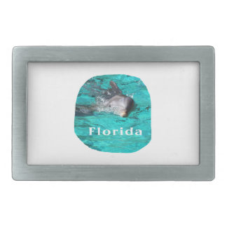 delfín que sale del agua clara la Florida del trul Hebilla De Cinturon Rectangular