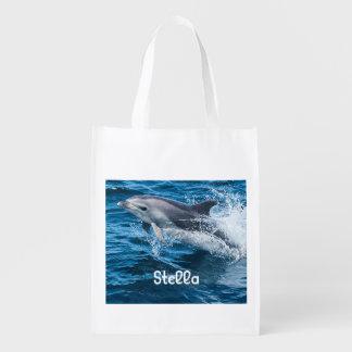 Delfín que salpica el bolso reutilizable bolsas para la compra