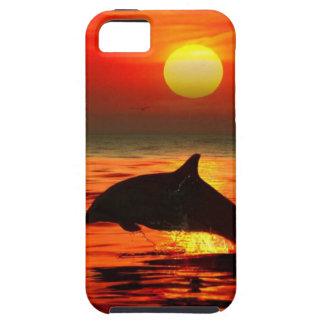 delfín que salta puesta del sol iPhone 5 fundas