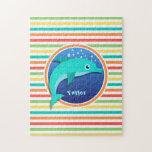 Delfín; Rayas brillantes del arco iris Rompecabeza Con Fotos