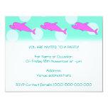 Delfín rosado brillante invitación 10,8 x 13,9 cm