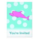 Delfín rosado brillante invitación 12,7 x 17,8 cm