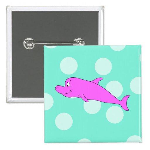 Delfín rosado brillante pins